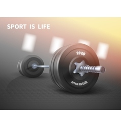 Fitness background with metal realistic dumbbell vector