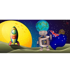 A rocket and a robot with the flag of australia vector