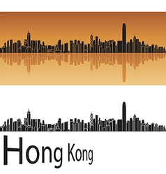 Hong kong skyline in orange background vector