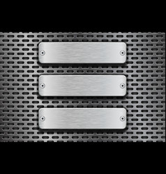 rectangular metal buttons on iron perforated vector image