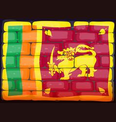 sri lanka flag on brickwall vector image