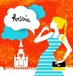 Stylish background with woman silhouette in Russia vector image