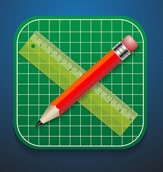 Cutting mats pencil and ruler icon vector