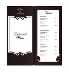 Elegant vertical restaurant menu with leafy vector