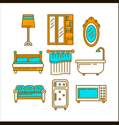 Furniture colorful set for domestic usage isolated vector