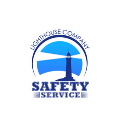 lighthouse icon for safety marine service vector image