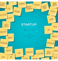 Start Up concept template with post it notes vector image