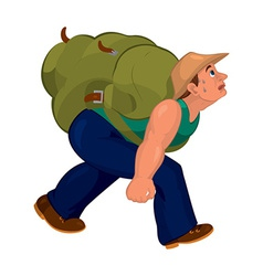 Cartoon man in blue pants with heavy backpack vector
