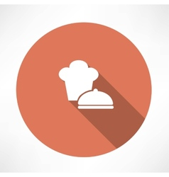 Chef hat and saucepan icon vector