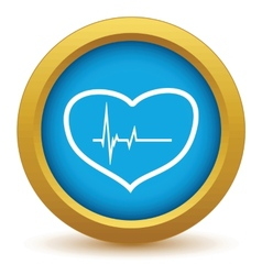 Gold heart beating icon vector