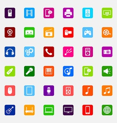 Set of colorful flat media icons vector