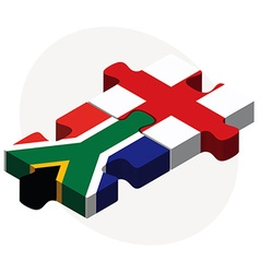South africa and england flags in puzzle vector