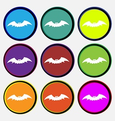 Bat icon sign nine multi colored round buttons vector