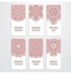 Set of flyer templates mehndi design vector