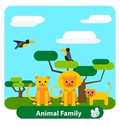 Cartoon lion family with trees and birds vector