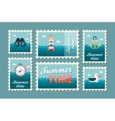 Summertime marine stamp set flat vector