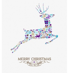 Merry christmas reindeer vintage retro elements vector