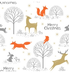 Christmas woodland pattern vector image