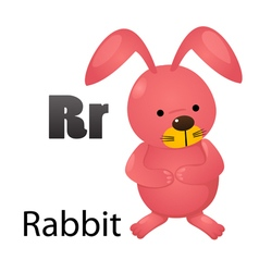 Alphabet r with rabbit vector