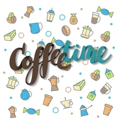 Coffee time lettering vector