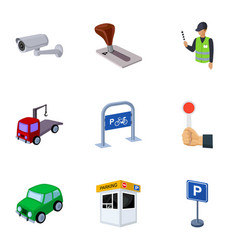 A set of icons for parking cars and bicycles vector