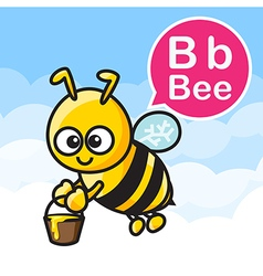 B bee cartoon color and alphabet for children to vector