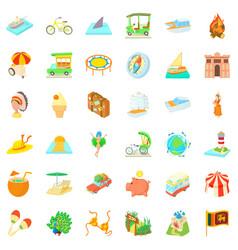 Big adventure icons set cartoon style vector