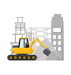Bulldozer under construction concept vector