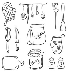 cartoon kitchen in doodle style vector image vector image