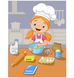 Cartoon little girl holding batter cake vector
