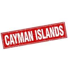 Cayman islands red square grunge vintage isolated vector