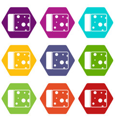 cheese icon set color hexahedron vector image