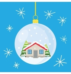 Christmas ball with house and trees inside vector image vector image