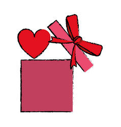 Drawing love gift box bow wrapped vector