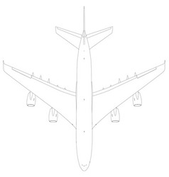 drawing of wire-frame airplane top view vector image