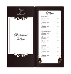 Elegant vertical restaurant menu with leafy vector