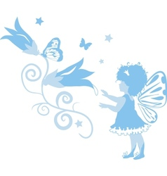 fairy little girl silhouette vector image vector image