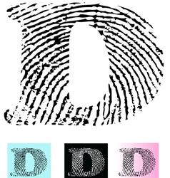 Fingerprint Alphabet Letter D vector image vector image