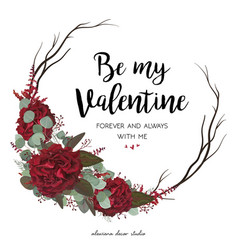 Floral greeting valentine card design with flowers vector