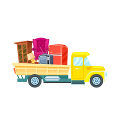 freight truck with furniture icon vector image vector image