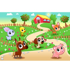 Funny farm animals in the garden vector