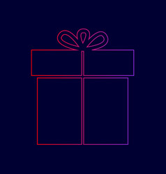 gift sign line icon with gradient from vector image