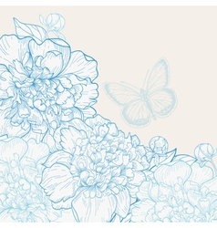 Hand drawn wedding invitation with peonies vector image vector image