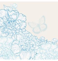 Hand drawn wedding invitation with peonies vector