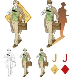 Jack of diamonds boy with a gun mafia card set vector