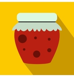 Jar of fruity jam icon flat style vector image