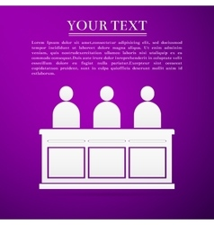 Jurors flat icon on purple background vector