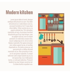Kitchen counter concept with kitchen interior vector