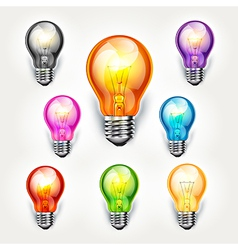 light bulb color set vector image vector image
