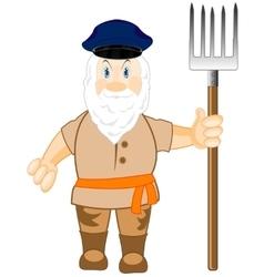 Man workman with pitchfork vector